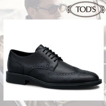 TOD'S Wing Tip Plain Leather Oxfords