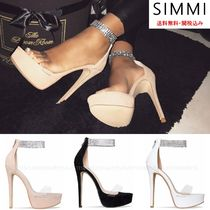SIMMI Open Toe Platform Suede Plain With Jewels Elegant Style