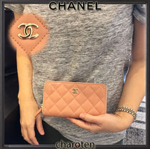 CHANEL MATELASSE Lambskin Plain Long Wallets