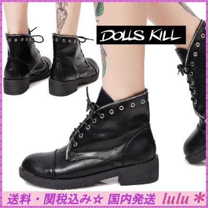 Round Toe Lace-up Casual Style Faux Fur Plain Lace-up Boots