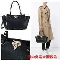 VALENTINO Casual Style Calfskin Studded 2WAY Bi-color Plain Totes