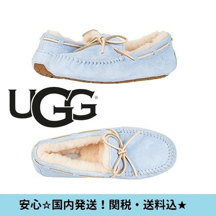 Moccasin Round Toe Rubber Sole Casual Style Sheepskin Plain