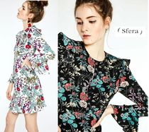 Sfera Crew Neck Flower Patterns Flared Medium Party Style Dresses