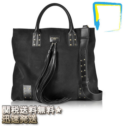 Street Style 2WAY Plain Leather Bags