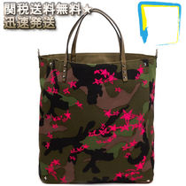 VALENTINO Camouflage Canvas Street Style Totes