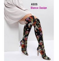 ASOS Flower Patterns Pin Heels Elegant Style Over-the-Knee Boots
