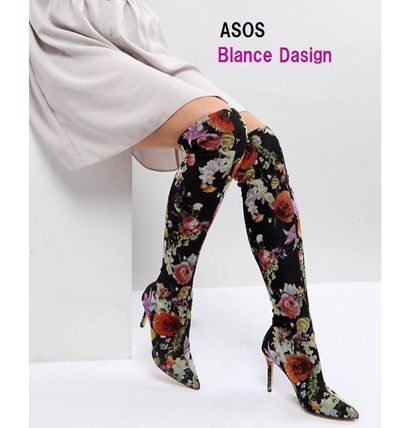 Flower Patterns Pin Heels Elegant Style Over-the-Knee Boots