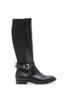 Round Toe Casual Style Collaboration Plain Leather