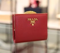 PRADA SAFFIANO LUX Plain Leather Folding Wallets
