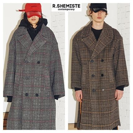 Other Check Patterns Unisex Street Style Long Coats