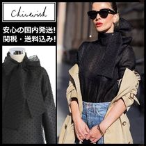 Chicwish Dots Long Sleeves Medium Elegant Style Shirts & Blouses