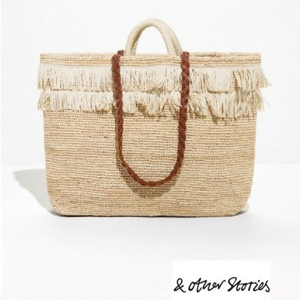 Casual Style Street Style Plain Fringes Straw Bags