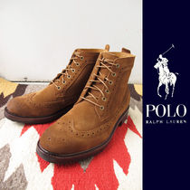 POLO RALPH LAUREN Wing Tip Plain Leather Boots