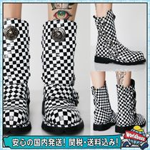 DOLLS KILL Gingham Round Toe Casual Style Leather Flat Boots