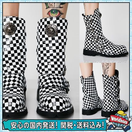 Gingham Round Toe Casual Style Leather Flat Boots