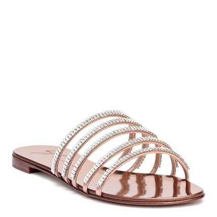 Open Toe Plain Leather With Jewels Elegant Style