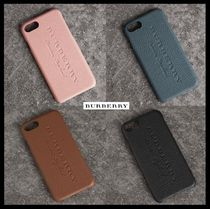 Burberry Plain Leather Smart Phone Cases