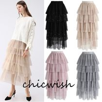 Chicwish Maxi Plain Long With Jewels Elegant Style Maxi Skirts