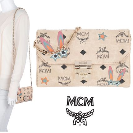 Monoglam Casual Style 2WAY Chain Leather Shoulder Bags
