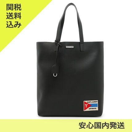 Street Style A4 Plain Leather Totes