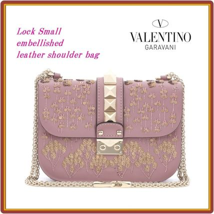 Flower Patterns Chain Leather Elegant Style Shoulder Bags