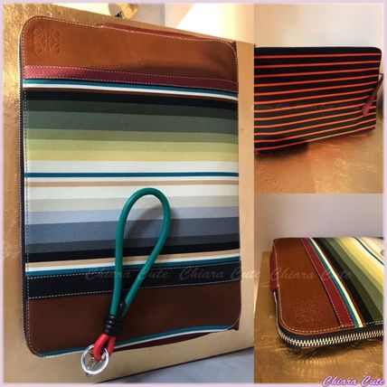 Stripes Blended Fabrics A4 Office Style Clutches