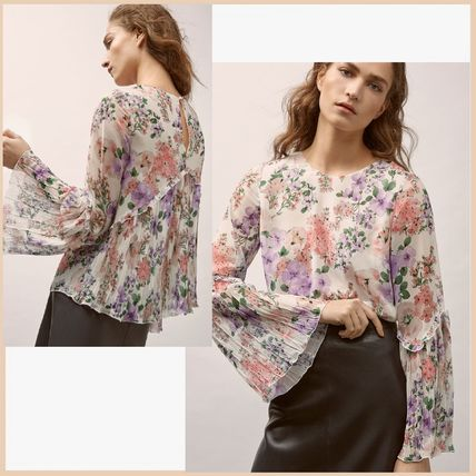 Flower Patterns Long Sleeves Shirts & Blouses