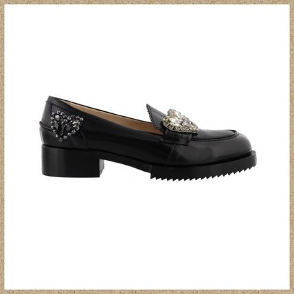 Heart Leather With Jewels Loafer Pumps & Mules