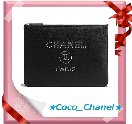 CHANEL Clutches Casual Style Unisex Calfskin Studded A4 Clutches