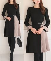 Bi-color Long Sleeves Medium Dresses