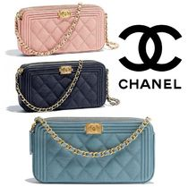 CHANEL BOY CHANEL Calfskin 2WAY Party Style Clutches