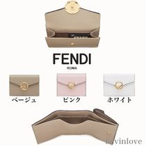 FENDI Studded Plain Leather Folding Wallets