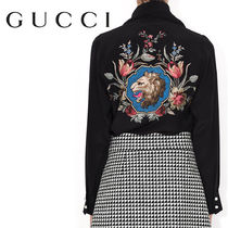 GUCCI Flower Patterns Silk Long Sleeves Other Animal Patterns Long
