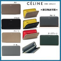 CELINE Zipped Unisex Calfskin Bi-color Plain Long Wallets