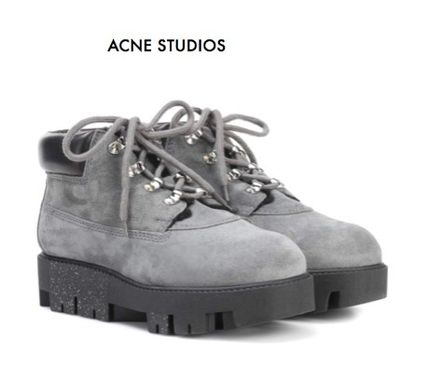 Casual Style Suede Plain Mid Heel Boots