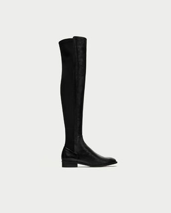 Plain Leather Over-the-Knee Boots