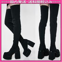 DOLLS KILL Round Toe Casual Style Chunky Heels Over-the-Knee Boots