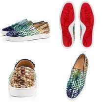Christian Louboutin ROLLER BOAT Stripes Tropical Patterns Plain Toe Studded Leather Handmade