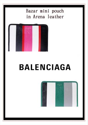 Stripes Casual Style Leather Clutches