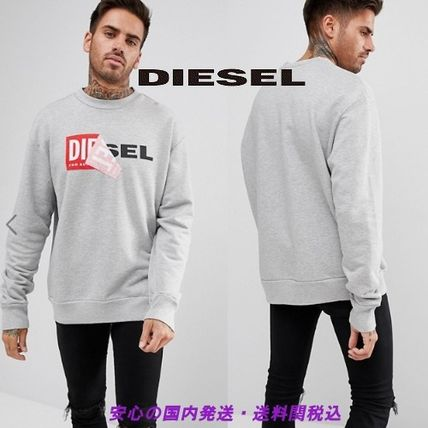 Crew Neck Street Style Long Sleeves Plain Cotton Sweatshirts