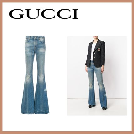 Casual Style Plain Other Animal Patterns Cotton Jeans