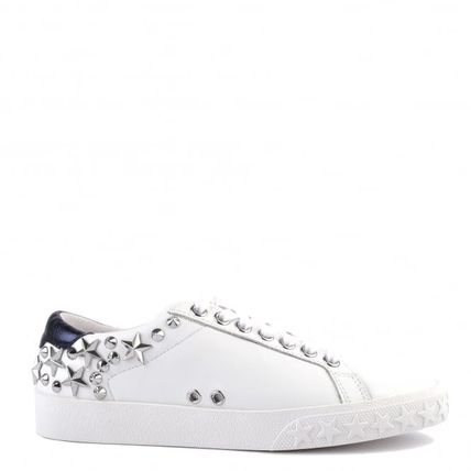 Round Toe Lace-up Casual Style Studded Plain Leather