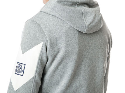 MONCLER Hoodies Street Style Long Sleeves Plain Cotton Logos on the Sleeves 11