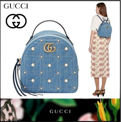 GUCCI GG Marmont 2018 SS Casual Style Studded Plain Backpacks ... 7d0297384de86