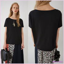 Acne Short Casual Style U-Neck Plain Cotton Short Sleeves Cropped