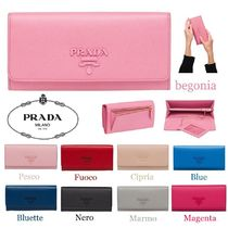 PRADA Saffiano Plain Long Wallets