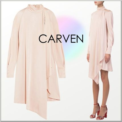 A-line Long Sleeves Plain Medium Party Style Dresses
