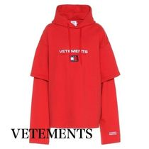 VETEMENTS Street Style Collaboration Long Sleeves Plain Cotton Hoodies
