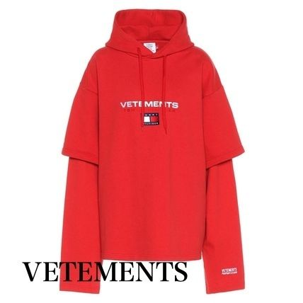 Street Style Collaboration Long Sleeves Plain Cotton Hoodies
