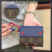 Louis Vuitton MONOGRAM Monoglam Cambus Street Style Bi-color Folding Wallets
